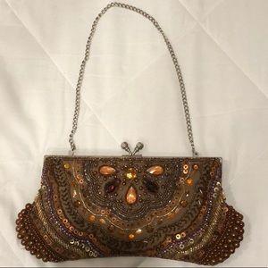 Steve Madden orange beaded handbag